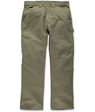 Carhartt Washed Army Green Twill Dungaree Pants