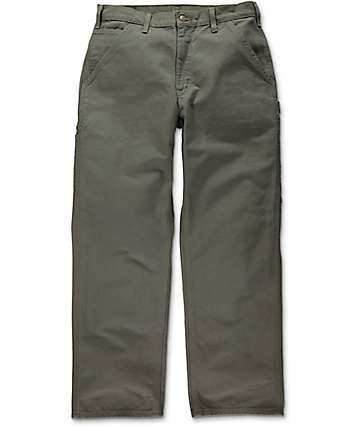 Carhartt Washed Duck Work Army Green Dungaree Pants