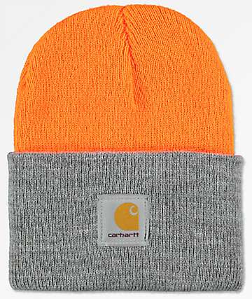Carhartt Watch Bright Orange & Heather Grey Cuff Beanie