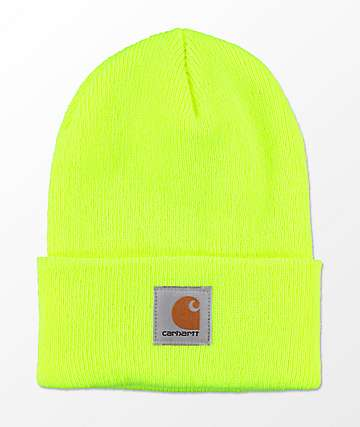 Carhartt Watch Lime Green Cuff Beanie
