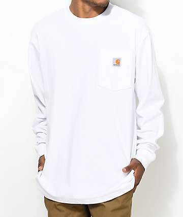 Carhartt Workwear White Long Sleeve Pocket T-Shirt