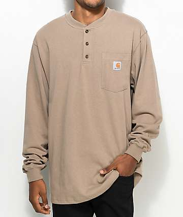 Carhartt Workwear camiseta henley de manga larga en marrón