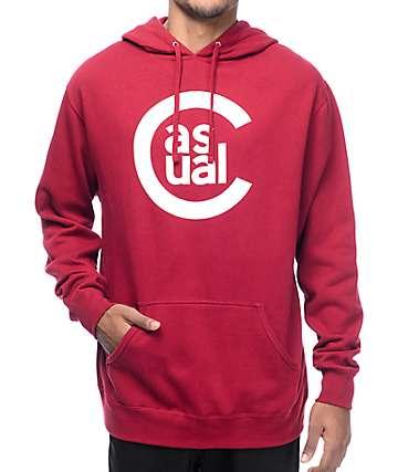 Casual Industrees C Logo Burgundy Pullover Hoodie