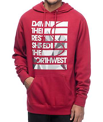 Casual Industrees Damn The Rest Burgundy Pullover Hoodie