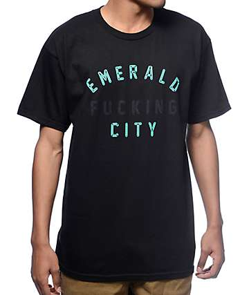 Casual Industrees Emerald Fucking City Black T-Shirt