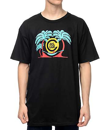 Casual Industrees In The Palm Trees Black T-Shirt