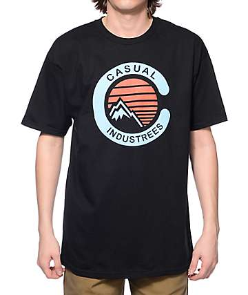 Casual Industrees NW Mountain Black T-Shirt