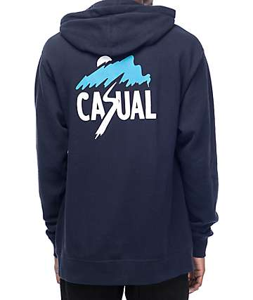 Casual Industrees North West Slash Mountain Navy Pullover Hoodie