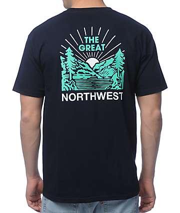 Casual Industrees PNW Squatch Valley 2 camiseta en azul marino