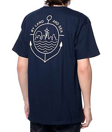 Casual Industrees SEA By Land Or Sea Navy T-Shirt