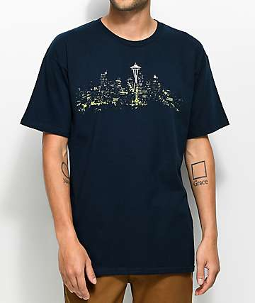 Casual Industrees Seattle, WA Lights camiseta en azul marino