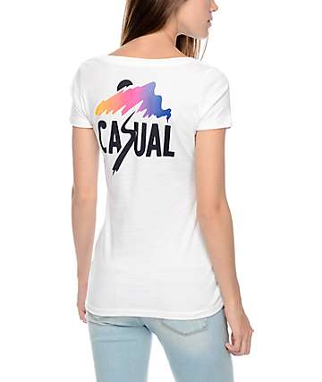 Casual Industrees Slash Fade White T-Shirt