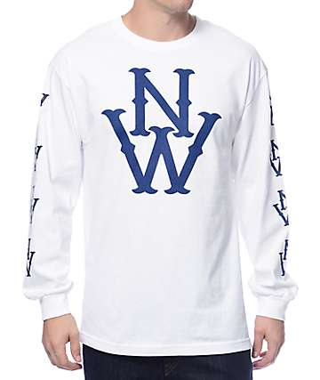 Casual Industrees The Outfielder White Long Sleeve T-Shirt