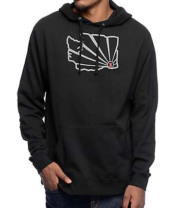 Casual Industrees WA Brah Outline Reflective Black Hoodie