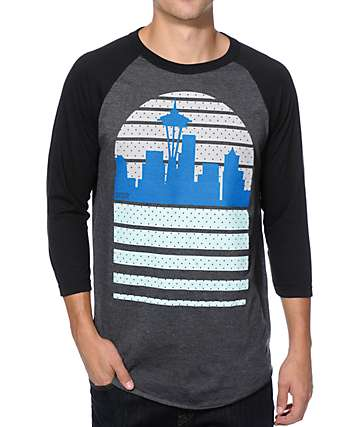 Casual Industrees WA Seattle Skyline Baseball T-Shirt