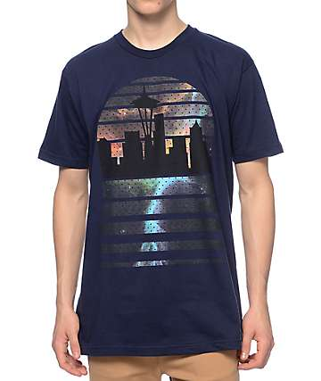 Casual Industrees WA Seattle Skyline Galaxy Navy T-Shirt