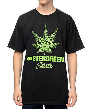 Casual Industrees WA The Evergreen State camiseta negra