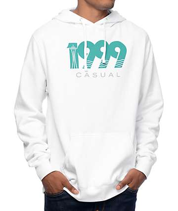 Casual Industrees WA Wave Ninety Nine White Pullover Hoodie