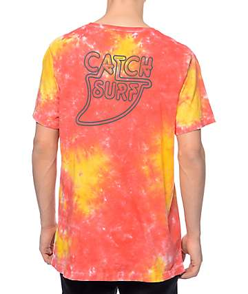 Catch Surfboard Co Thruster Orange & Pink Tie Dye T-Shirt
