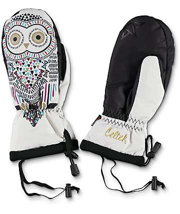 Celtek Bitten By A Womitten White Owl Snowboard Mittens