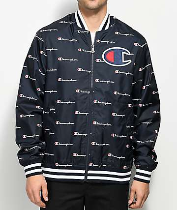 Champion All Over Script Navy Satin Coaches Jacket