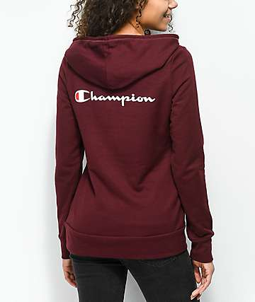 Champion Back Script Burgundy Hoodie