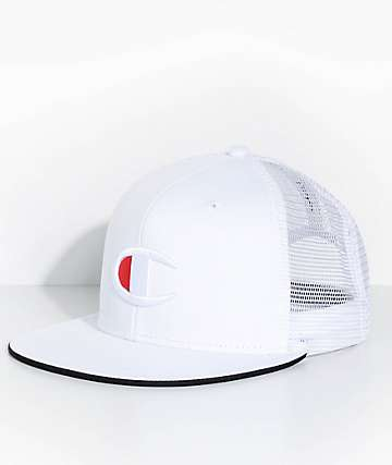 Champion Big C Logo White Snapback Hat