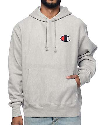 Champion Big C Reverse Weave Heather Grey Hoodie