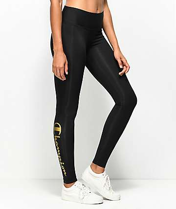 Champion Black & Gold Script Leggings