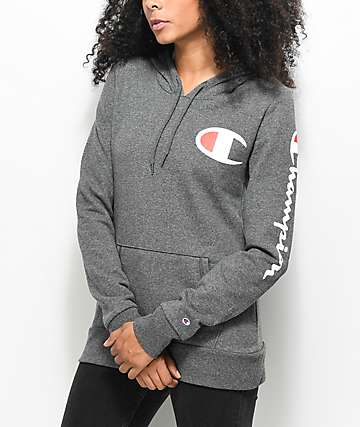 Champion Chest & Sleeve Logo Charcoal Hoodie