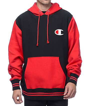 Champion Color Blocked Black & Red Hoodie