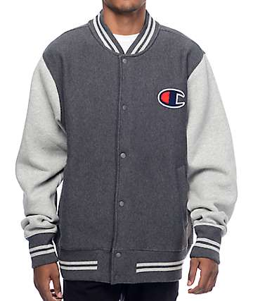 Champion Color Blocked Charcoal & Grey Varsity Jacket