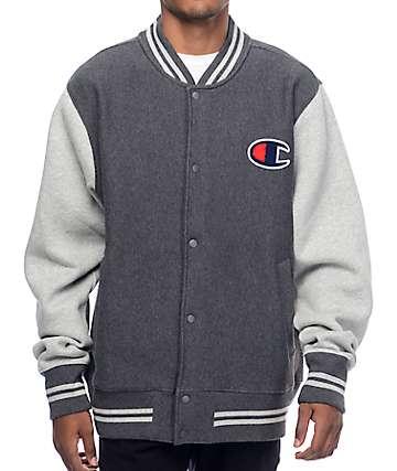 Champion Color Blocked Charcoal & Grey Varsity Jacket