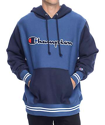 Champion Color Blocked Navy & Blue Hoodie