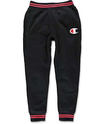 Champion Colorblock Black & Red Jogger Pants