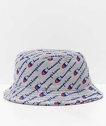 Champion Explodes Logo Script Grey Bucket Hat