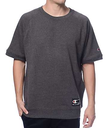 Champion French Terry Charcoal Short Sleeve Crew Neck Sweatshirt