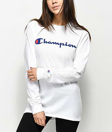 Champion Front Script Logo White Long Sleeve T-Shirt