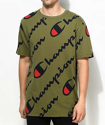 Champion Heritage All Over Script Olive Green T-Shirt