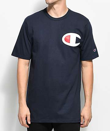 Champion Heritage Big C Patch camiseta en azul marino