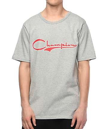 Champion Heritage Vintage Script camiseta gris