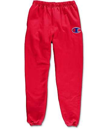 Champion Large C Reverse Weave pantalones deportivos en rojo