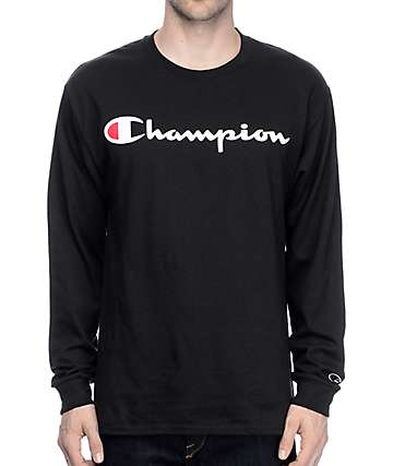 Champion Logo Black Long Sleeve T-Shirt