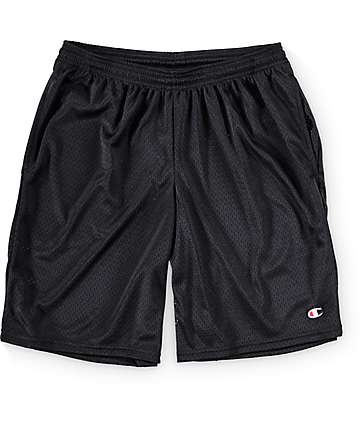 Champion Long Mesh Black Shorts