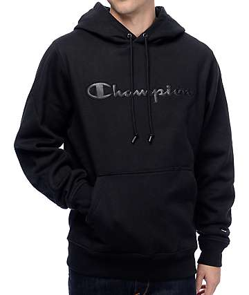Champion PU Logo Black Super Fleece 2.0 Hoodie