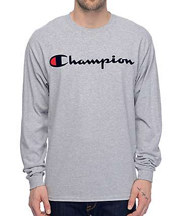 Champion Patriotic Script Heather Grey Long Sleeve T-Shirt