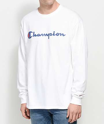 Champion Patriotic Script White Long Sleeve T-Shirt