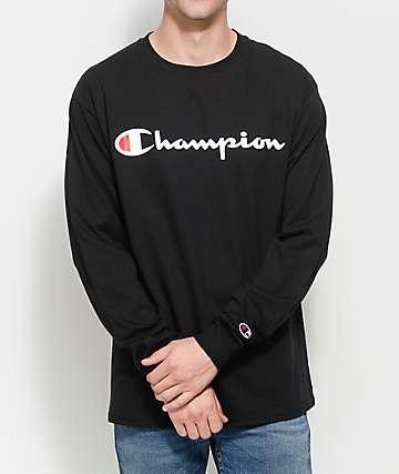 Champion Patriotic Script camiseta negra de manga larga
