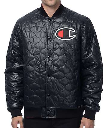 Champion Quilted Reversible Black & Red Bomber Jacket