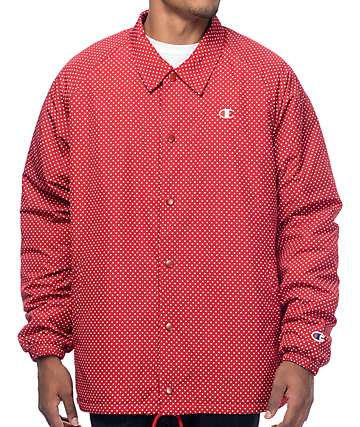 Champion Red Polka Dot Sherpa Coaches Jacket